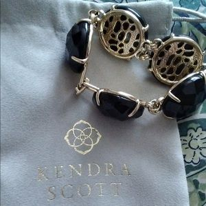 Kendra Scott CASSIE Black & Gold-tone Bracelet